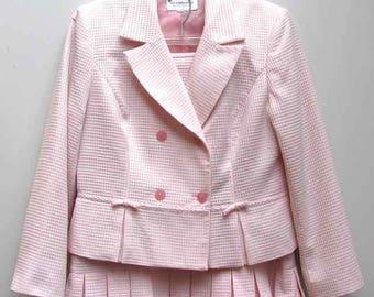 Vintage Liz Claiborne Pink & White Textured Check 2 Pc. Polyester Suit Size 14P