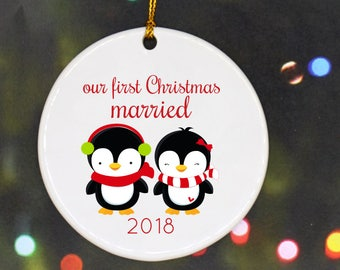 Wedding Ornament Our First Christmas Ornament First Christmas Custom Holiday Ornament Personalized Christmas Ornament Penguins Mr and Mrs