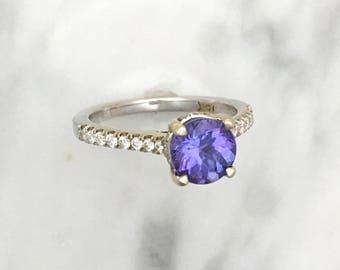 Round Tanzanite French Basket Engagement Ring w/ Diamonds - 18K White Gold - December Birthstone - Platinum French Cut Pave Engagement Ring