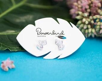 Fox Origami Sterling Silver Stud Earrings