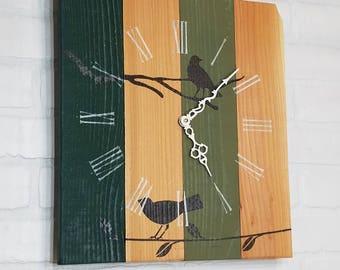 Wood Wall Clock - Roman Birds