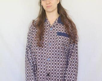 Pyjama Shirt Vintage 1960s Button Up Psychedelic Circle Print Fawn Blue