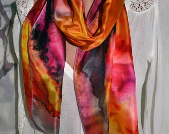 Fashion scarf Hand painted silk scarf Painted scarf Accessories, gift, present for woman, batik scarf,  red, yellow, black