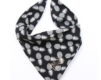 Dog bandana PINEAPPLE in black and white - super stylish - handmade in Germany