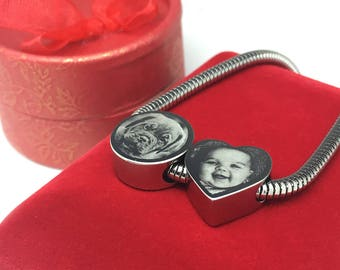 Photo Engraved Stainless Steel Heart Charm Bead - Fits Pandora Bracelets & Bangles - Perfect Personalised Gift