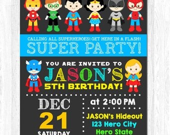 Superhero Invitation, Superhero Birthday Invitation, Superhero Invite, Superhero Birthday Invite