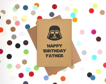 Funny Dad Birthday card, Dad Birthday Card, Star Wars Card, Darth Vader Card: Darth Vader Happy Birthday Father.