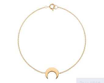 Crescent Moon bracelet plated yellow gold
