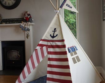 Kids Teepee play tent 'Ahoy Matey Red' Pirate / Nautical teepee with poles.
