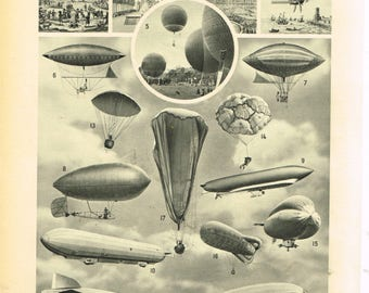 Black and White Digital Download Print Vintage French Larousse Digital Zeppelin Airships Blimps and Balloons 1920s France BUY 2 GET 1 FREE