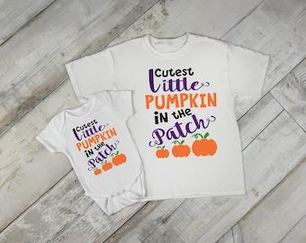 Cutest Little Pumpkin In The Patch One Piece Bodysuit Toddler Tee T Shirt Creeper Romper Custom Shower Gift Idea Fall Autumn Halloween Baby