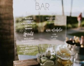 Bar Menu – Wedding Bar Menu Sign – Wedding Drink Menu Sign – Wedding Drink Sign – Wedding Bar Sign - Acrylic Wedding Sign - Acrylic Bar Sign