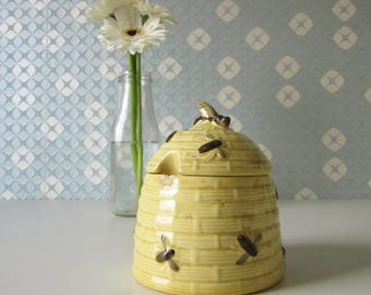 Vintage Yellow and Brown Ceramic Honey Pot or Jar made by Zell