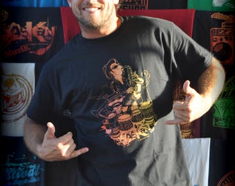 "T-shirt ASKAN UNITED ""Musicians"" - Tee shirt black - red yellow ink"