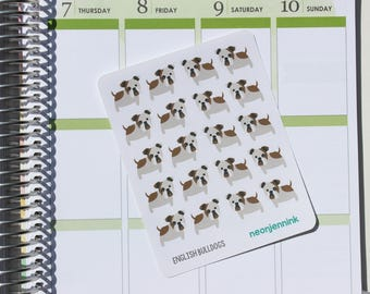 English Bulldog Stickers (Set of 20 Stickers)