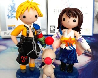 Yuna final fantasy 10 Keychain or Necklace handmade chibi gamer