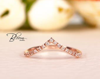 Delicate Rose Gold Chevron Ring Rose Gold Ring 14K Solid Gold CZ Gold Ring Cubic Zirconia Wedding Ring BloomDiamonds