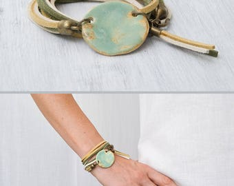 Forest green ceramic bead bracelet Charm bracelet Ceramic geometric jewelry Double wrap bracelet Handmade jewelry Gift Tassel bracelet