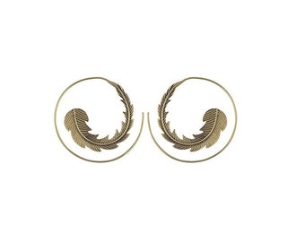 VULTURE  bohemian tribal brass earrings