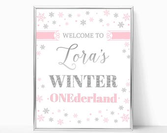 Pink And Silver Winter ONEderland Welcome Birthday Sign Girl First Birthday Party Decor Printable Birthday Welcome Poster Snowflakes DIGITAL