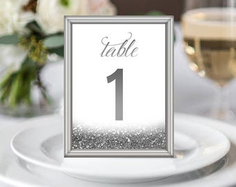 """1-30 Printable Table Numbers Set Silver Wedding Table Decor Glitter Silver Wedding Decor Glitter Wedding Table Signs Digital Download 5x7"""""""