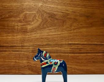 "Small 4"" blue dala horse / vintage Swedish horse by Nils Olsson"
