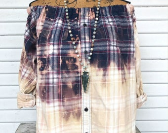 SIZE LARGE - Off Shoulder Distressed Flannel - Oxy Flannel - Shoulder Flannel - Distressed Flannel - Bleached Flannel #7