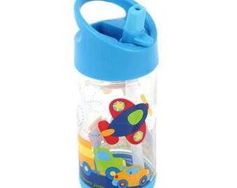 Personalized Transportaion Flip Top Bottle by Stephen Joseph / Kids Water Bottle / Toddler Flip Top Bottle / Personalized Character Bottle
