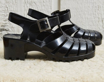 Sale! 90s Black Heeled Sandals Jelly Shoes • 7.5
