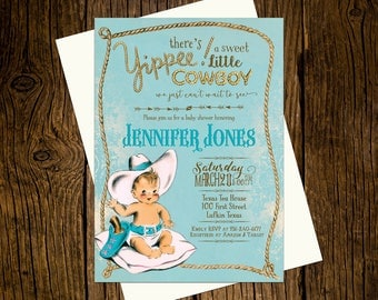 Cowboy Western Baby Shower Invitations Personalized Custom Printed Set of 12 Party Invites Vintage Ecru Rustic Blue Rope Yippie