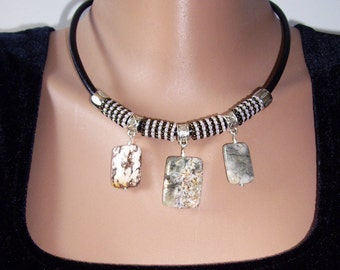 Ocean jasper necklace Bib necklace Choker necklace Leather choker Jasper slab necklace Ocean jasper stone pendant Original gift idea