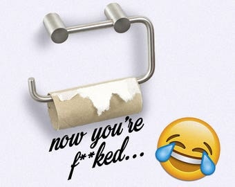 Funny Empty Toilet Roll Now You're F**ked Novelty Decal, Funny Sticker, Bathroom Design, Humour, Wall Graphic, Wall Sticker
