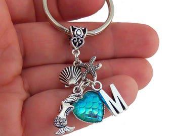 Mermaid party favors, blue heart key chain, blue mermaid scale keychain, mermaid key chain, mermaid scales, heart shaped mermaid scale, gift