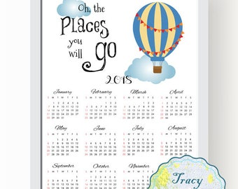 SALE! Printable Wall Calendar, Instant Download 2018 Wall Calendar, Blue Hot Balloon Wall Calendar 2018, Oh the places you will go, 0510