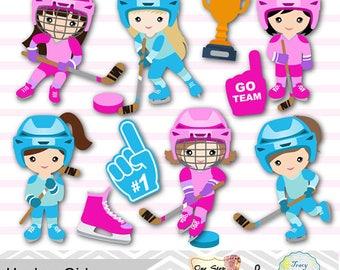 Digital Girl Hockey Clipart, Girl Hockey Digital Clip Art, Sport Clipart, Girl Sport Clip Art, Sport Girl Clipart, Hockey Clipart 0253