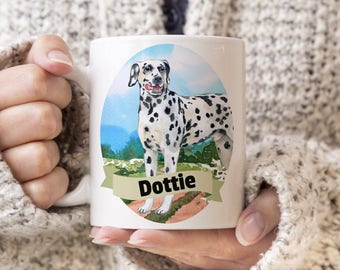Dalmatian Custom Dog Mug - Get your dogs name on a mug - Dog Breed Mug - Great gift for dog owner - Dalmatian mug
