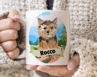 Norfolk Terrier Custom Dog Mug - Get your dogs name on a mug - Dog Breed Mug - Great gift for dog owner - Norfolk Terrier mug