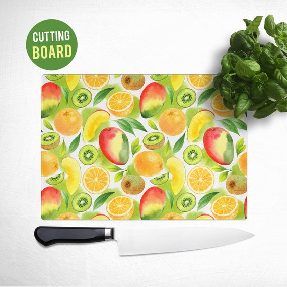 Tempered Glass Cutting Board - Kiwi, Orange and Papaya Fruit Pattern - Fruit Kitchen Decor
