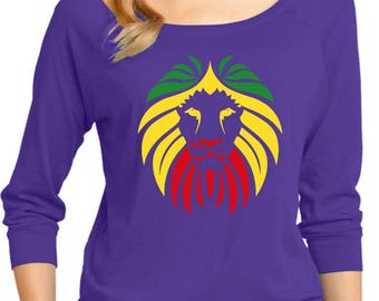 Ladies Rasta Lion Headt 3/4 Sleeve Scoop Neck LIONHEAD-DM482
