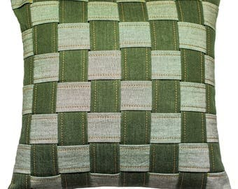 Denim Club India Exclusive Handmade Eco-friendly Handloom Denim Throw Pillow / Cushion Cover 16x16 - Chess Board - Green