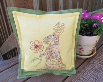Bright and Multicolored Hand Embroidered Rabbit Pillow-FREE SHIPPING