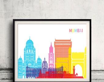 Mumbai skyline pop - Fine Art Print Glicee Poster Gift Illustration Pop Art Colorful Landmarks - SKU 24511