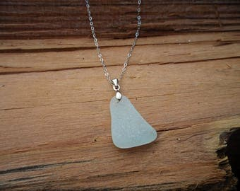 A Hint of Blue Sea Glass Sterling Silver Necklace