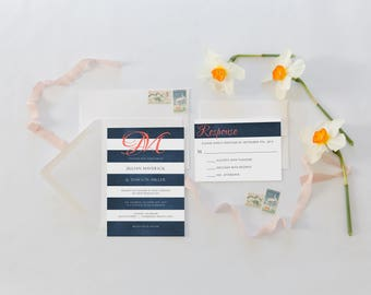 Wedding Invitation, Navy Wedding Invitation, Coral Wedding Invitations,  Modern Wedding Invitations, Monogram