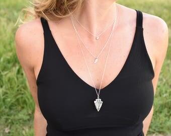 crystal arrowhead necklace, silver arrowhead necklace, long crystal necklace, silver crystal necklace, silver arrow necklace