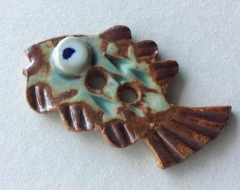 Collectible, fun & funky, fish-shaped, signed, green and rust 2.25-inch-long handmade stoneware ceramic button