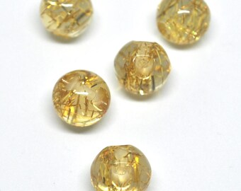 Set of 2 spherical round transparent and gold plastic buttons, ideal for sewing on a shrug or finish the back of one dress