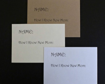 50 Name Tags Baby Shower Cards White Cardstock Kraft Cards Personalized  Cards Custom Cards Party Supplies