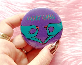 Ovary gang pin, feminist badge, pin buttons, feminist pin, pinback button, feminist gift ideas, big pastel pin, feminist button, accessories