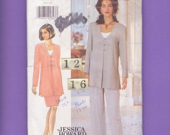Easy, Loose Jacket, Evening Suit Sewing Pattern/ Butterick 3950 Side Slit Collarless, buttoned Tunic Top, skirt, pants UnCut/ Size 12 14 16